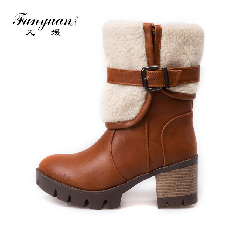 Woman Mid Calf Boots 2016 New Woman Thick Bottom Platform Shoes Woman Boots High Heel Woman Fur Collar Motorcycle Snow Boots double buckle cross straps mid calf boots