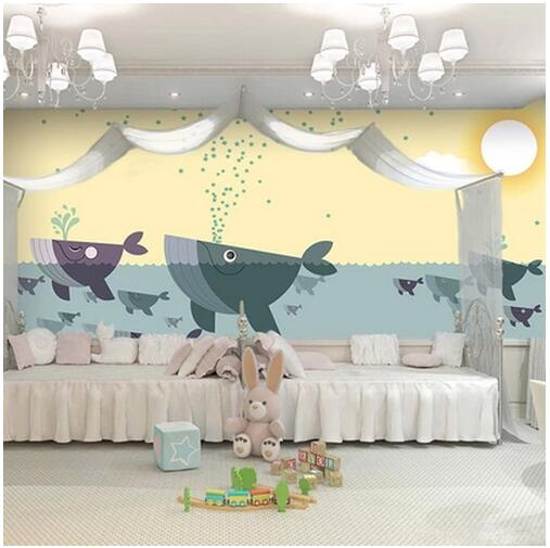 Children's bedroom 3D wallpaper cartoon nursery restaurant put a large mural 3D wallpaper background underwater world of whales image 2d omnidirectional with usb ps2 rs232 barcode scanner all kinds of bar code free shipping for pos and inventory