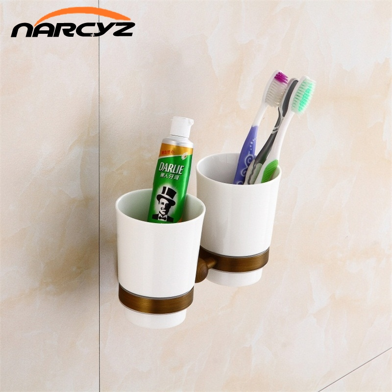 Cup & Tumbler Holders 2 Ceramic Cups Antique Brass Toothbrush Double Cup Holder Wall Bathroom Accessories Tumbler Rack  9144K-in Cup & Tumbler Holders from Home Improvement on AliExpress - 11.11_Double 11_Singles' Day 1