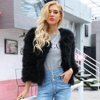 2018 Fashion Autumn Faux Fur Pink Winter Coat Women Elegant Collarless Long Sleeve Cute Warm Coats Open Front Crop Coat