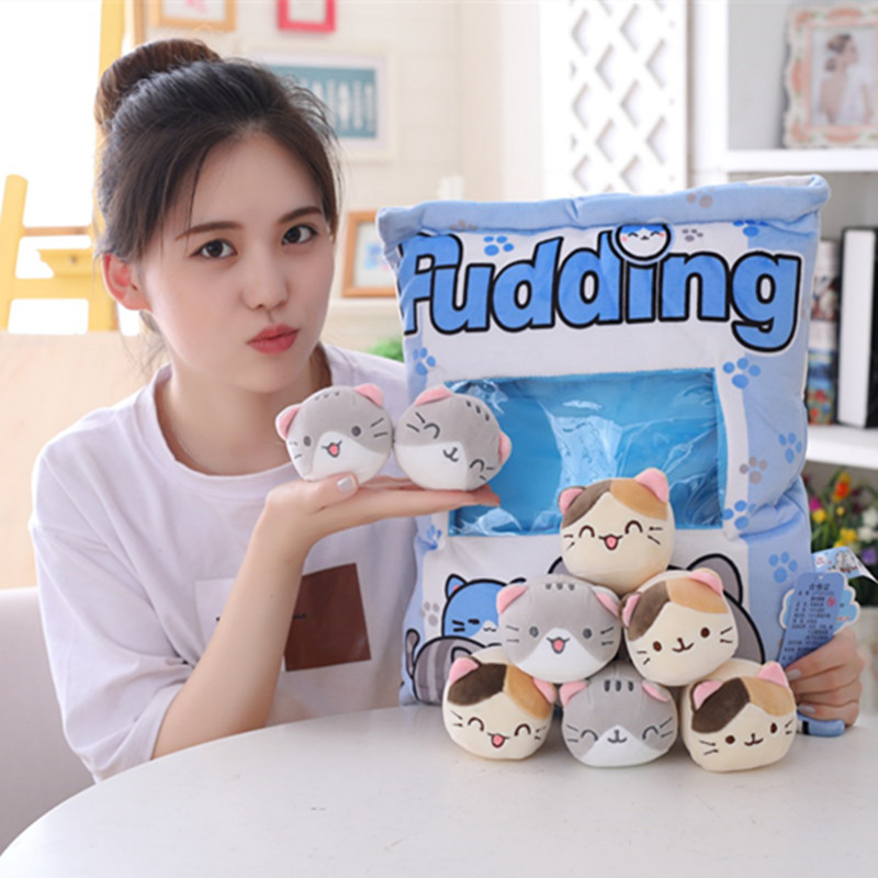 New Big Bag Kawaii Cat Plush Balls Bag Snack Toy Soft Cartoon Animal Stuffed Doll Sofa Pillow Girlfriend Kids Gifts