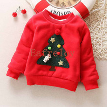 Ship by DHL Factory Price Wholesale 200pcs/lot Children Plus Cashmere Sweater Baby Girls Sweatshirt Winter Casual Christmas Tree