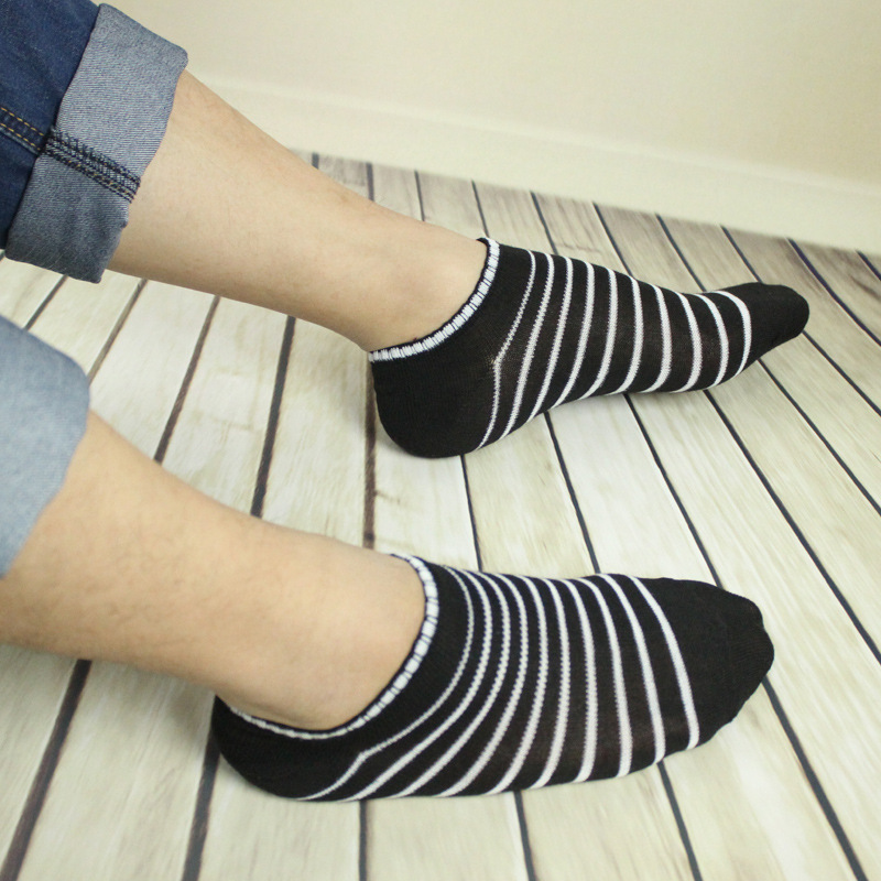 10 Pairs /lot 5 Light Color Breathable Men Summer Short Socks Fashion New Multi Stripe Couple Soft Comfortable Quality Boat Sock