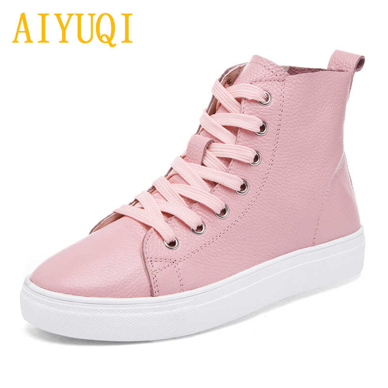 AIYUQI kadın düz ayakkabı 2019 bahar yeni hakiki deri kadın rahat ayakkabılar, beyaz spor ayakkabı dantel loafer ayakkabılar kadınlar
