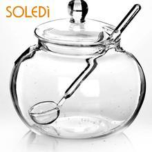 SOLEDI Бытовая Хрустальная 250 мл стеклянная банка Конфета сахарная солевая чаша для хранения приправ Saleros De Cocina для кухни товары для дома