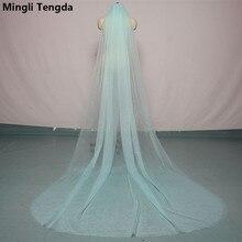 Mingli Tengda 300 см* 150 см небесно-голубая свадебная вуаль с обрезанными краями, двухслойная Соборная Фата невесты с гребнем, элегантные свадебные аксессуары