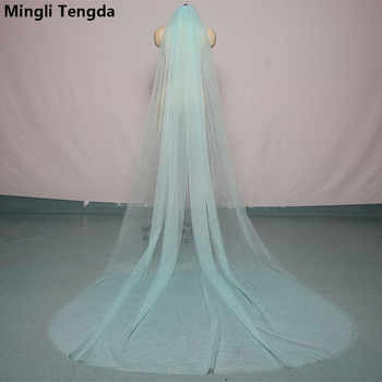 Mingli Tengda 300cm*150cm Sky Blue Wedding Veil Cut Edge Two Layer Cathedral Bridal Veils with Comb Elegant Wedding Accessories - DISCOUNT ITEM  45% OFF All Category