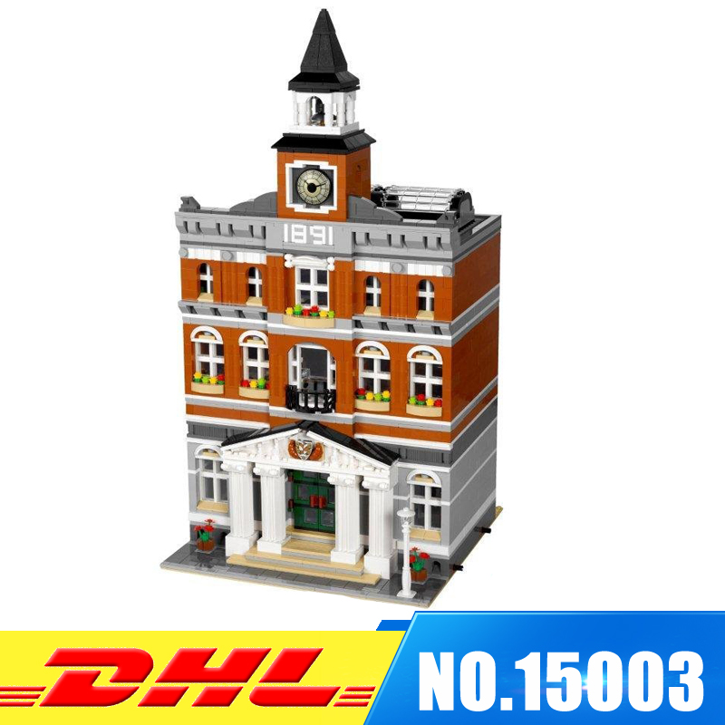 DHL Fast Shipping 2859Pcs LEPIN 15003 The town hall Model Building Blocks Bricks Develop intelligence Toys Compatible With 10224 6es7284 3bd23 0xb0 em 284 3bd23 0xb0 cpu284 3r ac dc rly compatible simatic s7 200 plc module fast shipping