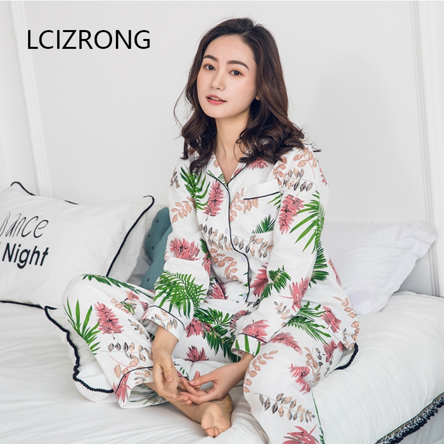 Spring Gauze Cotton Pajama Set Women Casual Harajuku Plus Size Sleepwear Suits Long Sleeve Cardigans Long Pants Home Nightgown
