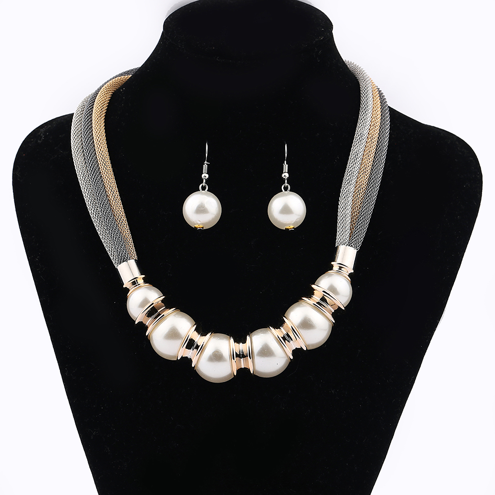 Fashion Jewelry MultiColor Necklace Jewelry Woman Pearl Jewerly Mesh Chain Silver Gold Rose Golds Flat Chain Silver Neck Choker