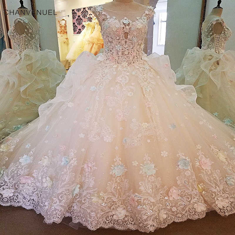a949844a8e0b7 LS00104 Luxury wedding dress for bridal beading 3D flowers ball gown lace  wedding gowns vestidos de noivas real photos 2018
