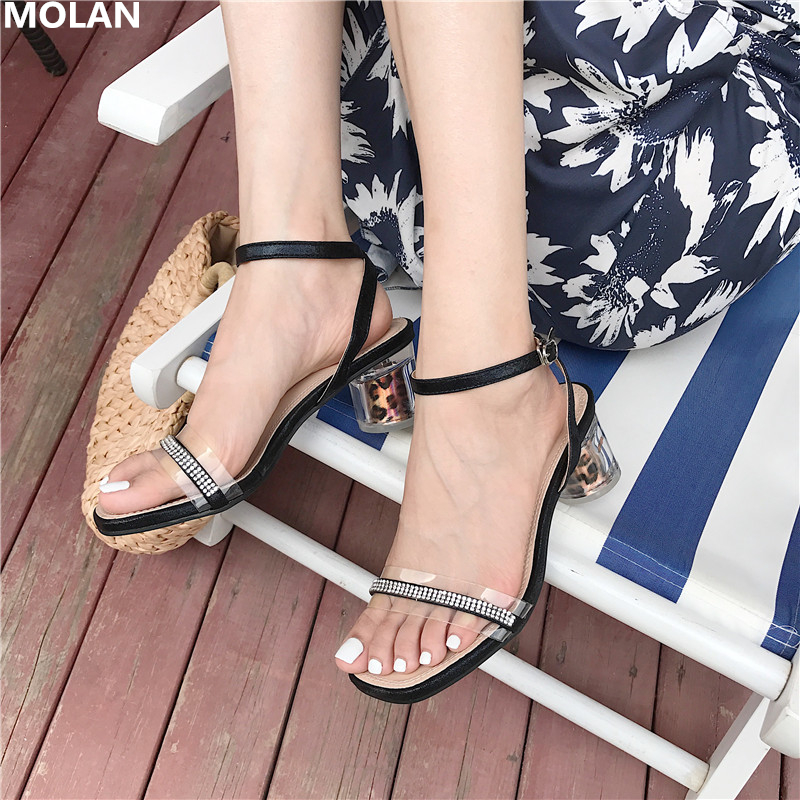 MOLAN Brand Designers 2019 Summer New Luxury Crystal Rhinestone Ladies Sandals Sexy Leopard Transparent Round Heels Shoes BuckleMOLAN Brand Designers 2019 Summer New Luxury Crystal Rhinestone Ladies Sandals Sexy Leopard Transparent Round Heels Shoes Buckle