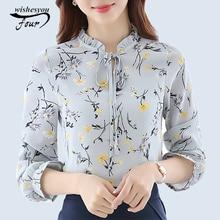 2017 New Arrivals Shirt Women Fashion Woman Chiffon Blouse Long Sleeve Casual Fashion Print Floral Tops Women's Clothing 288J