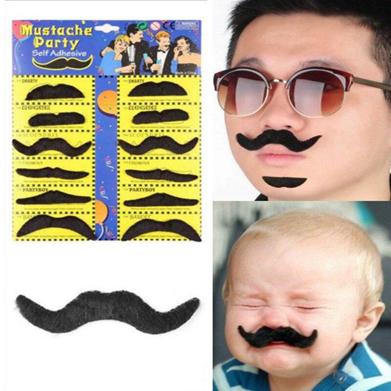 12pcs/lot Fake Mustache Costume Halloween Adult Kids Children Moustache Funny Fake Beard Whisker(China)