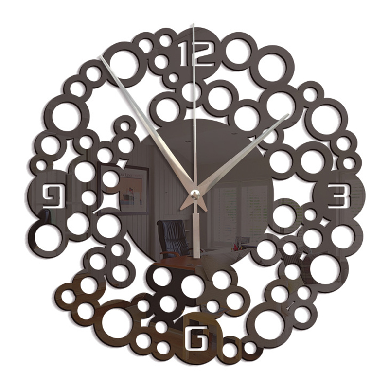 Stylish DIY Numbers Wall Clock Self Adhesive Gold W7345