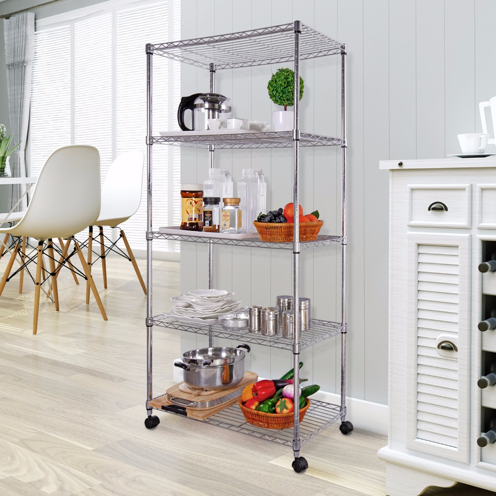 Lifewit 5 Tiers Wire Shelving Unit on Wheels Pantry Storage Rack for ...