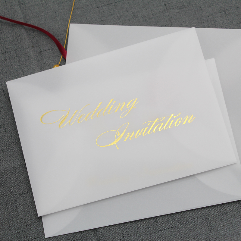 20pcs/set Translucent Envelope Thank You Bronzing Printing Wishes For Christmas Wedding Invitation Scrapbooking Gift Envelope