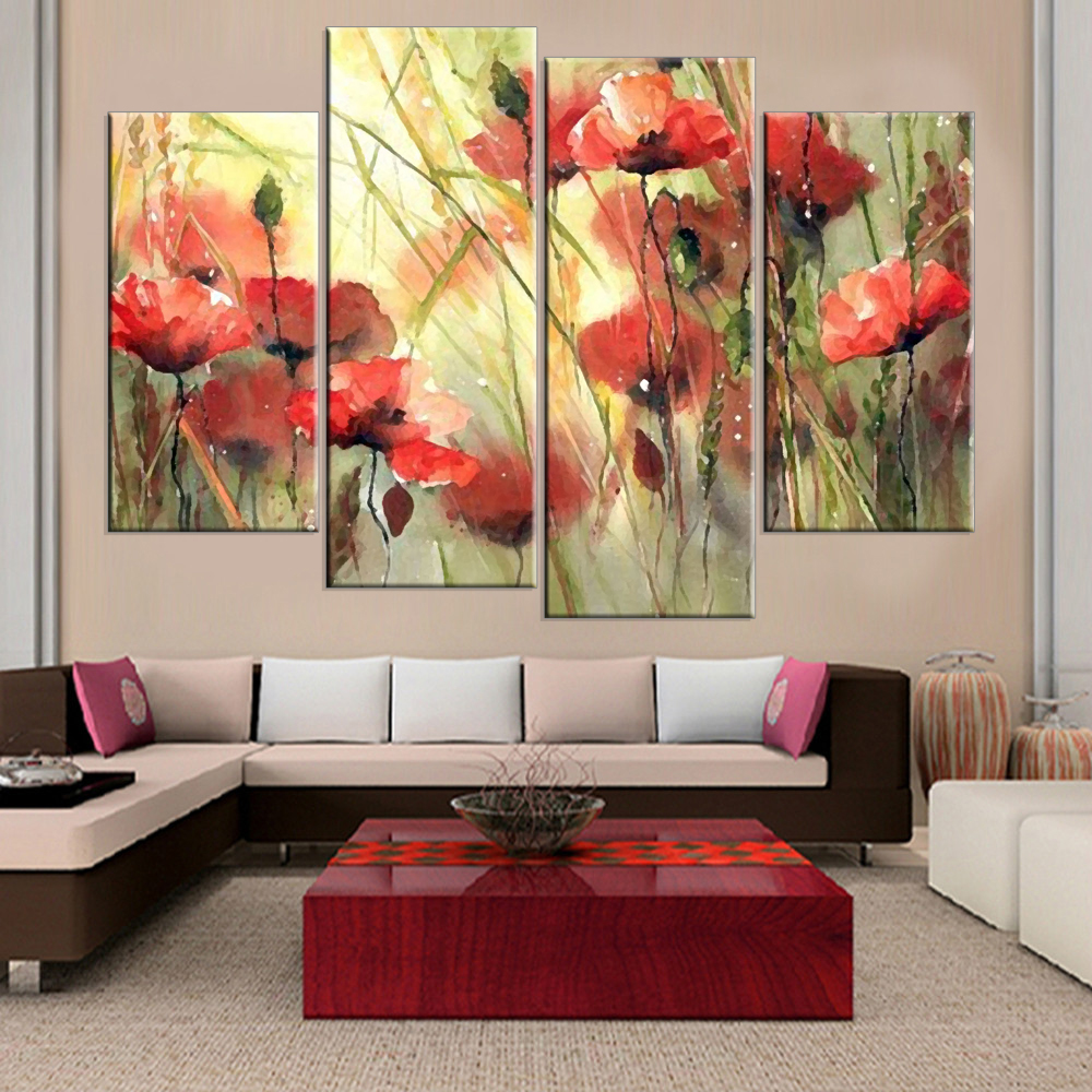 Frameless Flower Print on Canvas Wall Painting Arts