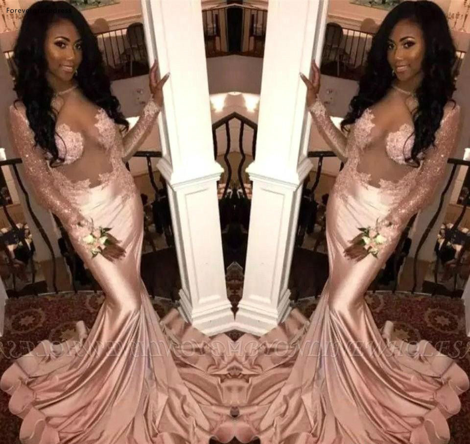 Mermaid   Prom     Dresses   South African Black Girls Long Sleeve Formal Pageant Holidays Wear Graduation Evening Party Gowns Plus Size