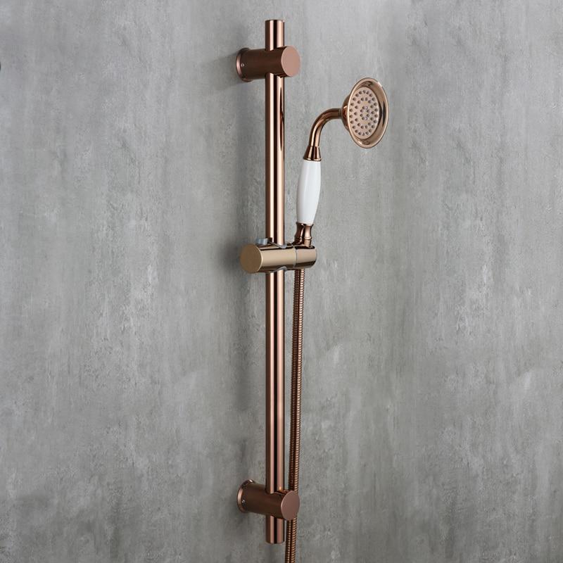 Luxury Rose Gold strong round brass Handhand Shower Head set with Adjustable stainless steel Slide Bar shower head holder E - 2