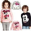 Los niños camisetas de los hoodies de mickey minnie mouse ropa de los hoodies de 2016 lentejuelas de dibujos animados de manga larga