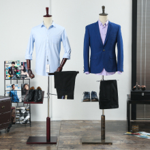 Male fiberglass half body mannequin male suit clothes display men fabric mannequin with wooden arms and shoes pants racks
