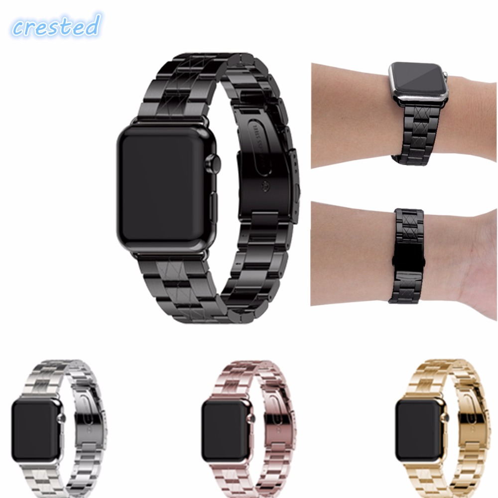 CRESTED Stainless Steel strap For Apple Watch band 42mm 38 metal band for men & women Link Bracelet Watchbands For iWatch strap stainless steel watch metal band quartz watch for men longbo 8833