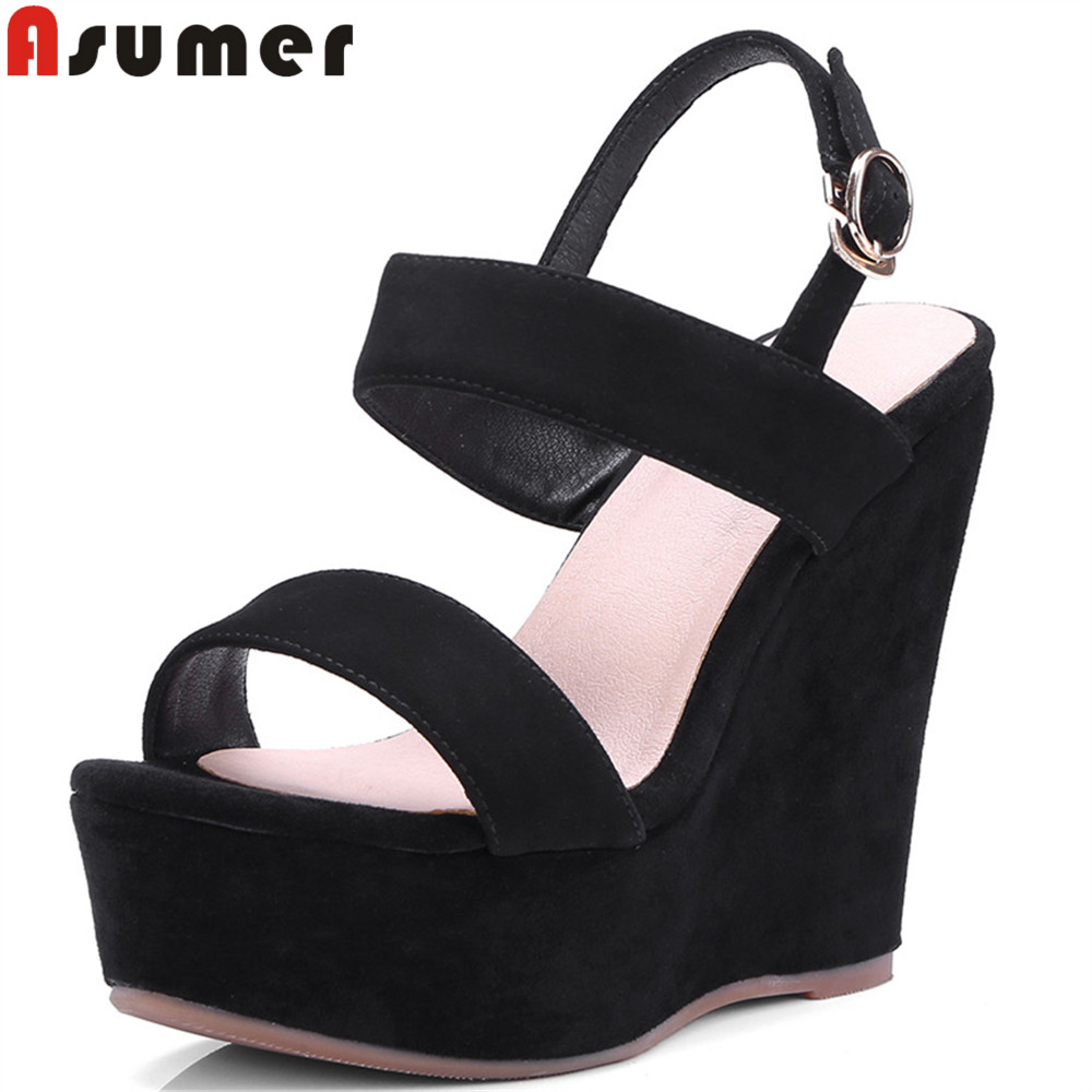 ASUMER 2018 fashion summer ladies shoes buckle platform wedges shoes woman black elegant women high heels suede leather sandals woman fashion high heels sandals women genuine leather buckle summer shoes brand new wedges casual platform sandal gold silver