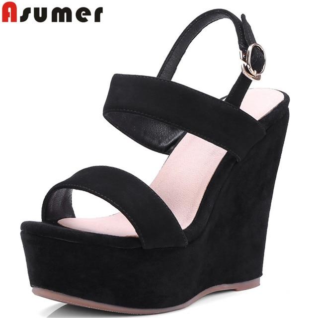 1de54299d75bc ASUMER 2018 moda lato panie buty klamra buty na koturnie buty kobieta  czarny elegancki damskie buty