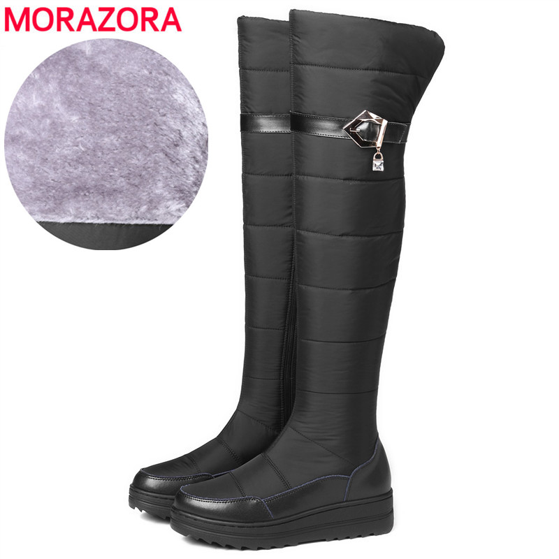 MORAZORA Plus size 35-44 New 2018 Genuine Leather Snow Boots Women Thick Fur Warm Down Winter Boots Platform Over The Knee Boots на японских островах