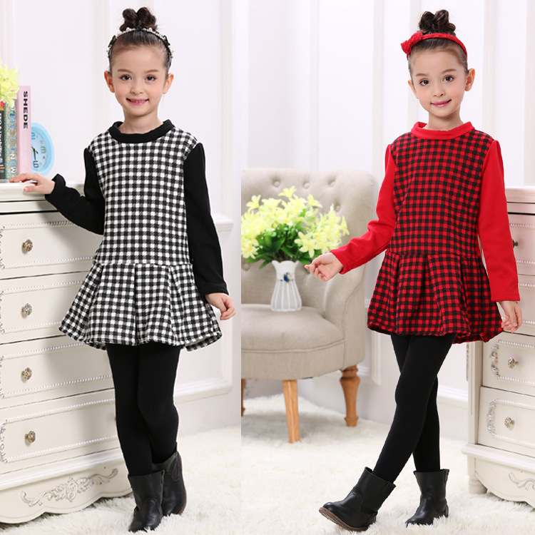 2018 Autumn winter Thick with velvet girls dress thickening Pure cotton Lotus leaf edge  ...