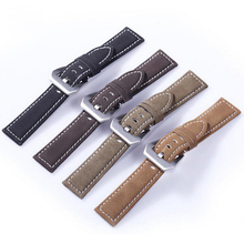 цена на neway Frosted Cowhide Leather Watch Band Wrist Strap 316L Steel Buckle 18mm 20mm 22mm 24mm Replacement Bracelet Belt Black Brown