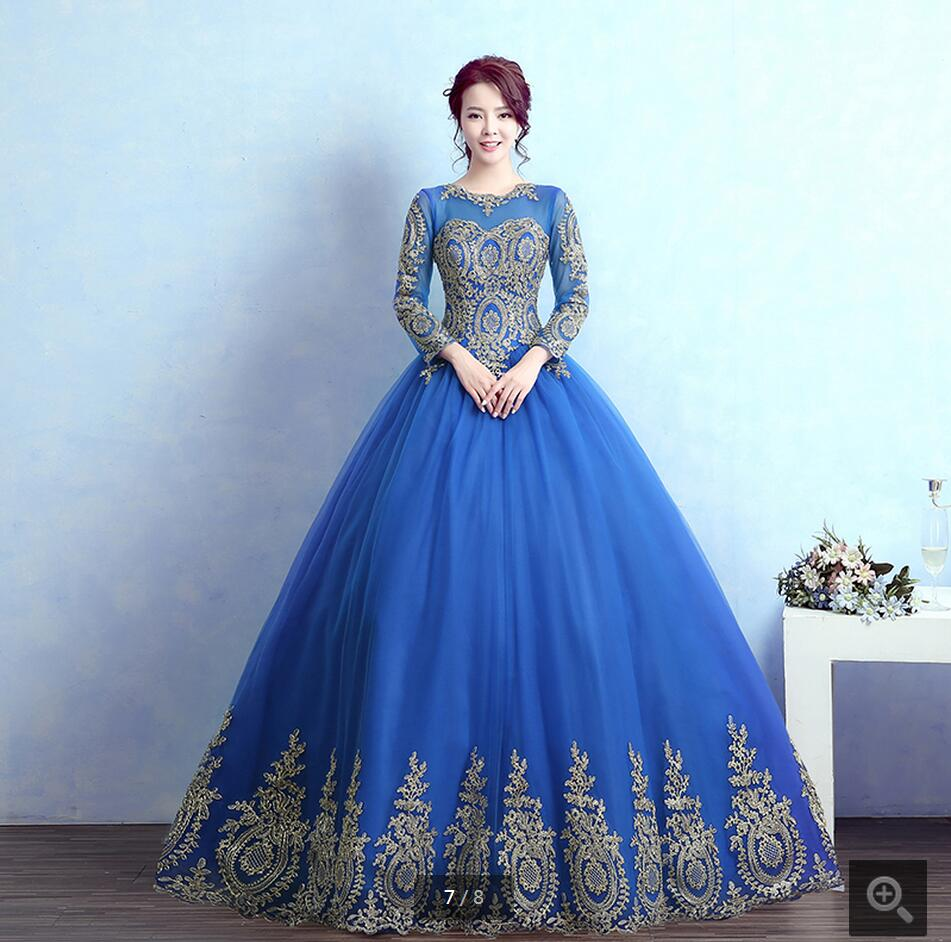 2016 new arrival ball gown prom dress fuchsia 3/4 sleeve modest prom ...