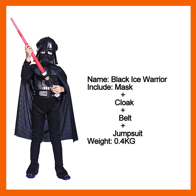 bbc90f7b2 STAR WARS DARTH VADER COSTUME FOR KIDS DARTH VADER JUMPSUIT BLACK CLOTHING  WITH CAPE CHRISTMAS HOLIDAY COSPLAY FOR BOYS GIRLS