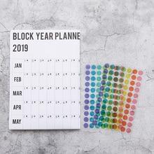 2019 Block Year Planner Paper Pack DIY Yearly Plan Gift Cool Study Work Supplies Scheduler