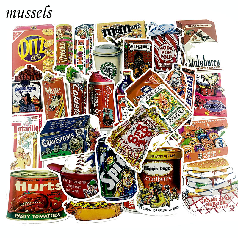 Toys & Hobbies Dedicated 38pcs/lot Snacks And Drinks Packaging Stickers For Skateboard Laptop Luggage Fridge Phone Toy Car Styling Doodle Car Sticker Cool In Summer And Warm In Winter
