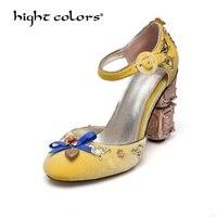 Ретро Роскошный камень бархат со стразами туфли лодочки Мэри Джейн с пряжкой тонкие туфли Для женщин из металла свадебные туфли на высоком