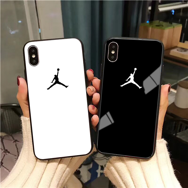 Air 23 Flyman Jordan Case For iPhone X Xs Max Xr 8 7 6 6s Plus 10 Luxury Sports Simple Glossy Tempered Glass Phone Cover Coque(China)