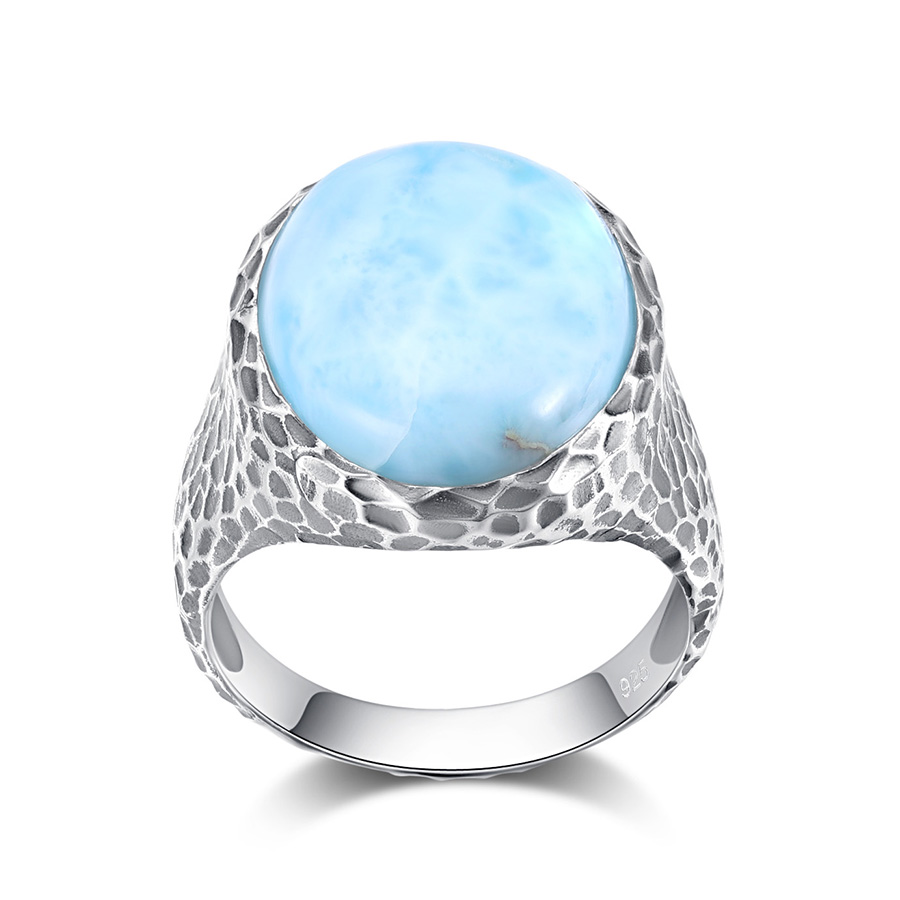PCJ Natural Gemstone 15*20mm 17.8cts Oval Shape Larimar 925 Sterling Sliver Ring