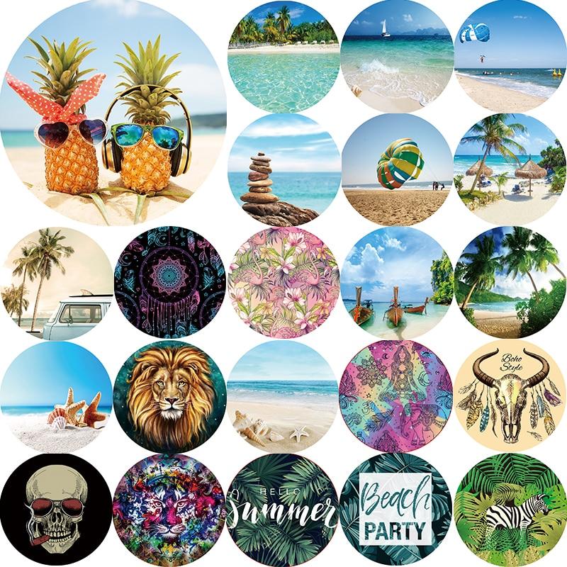 Hot sale summer landscape tiger lion mandala beach towel pineapple hello  Round size 1500*1500mm