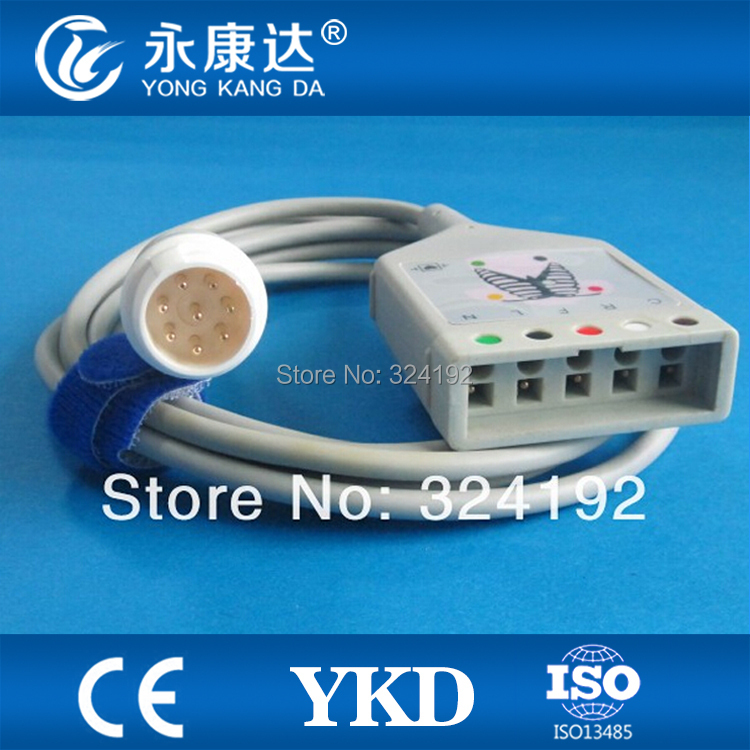 ECG trunk cable for 5 leads, 8pin connector, CE&ISO13485, Free shipping!ECG trunk cable for 5 leads, 8pin connector, CE&ISO13485, Free shipping!