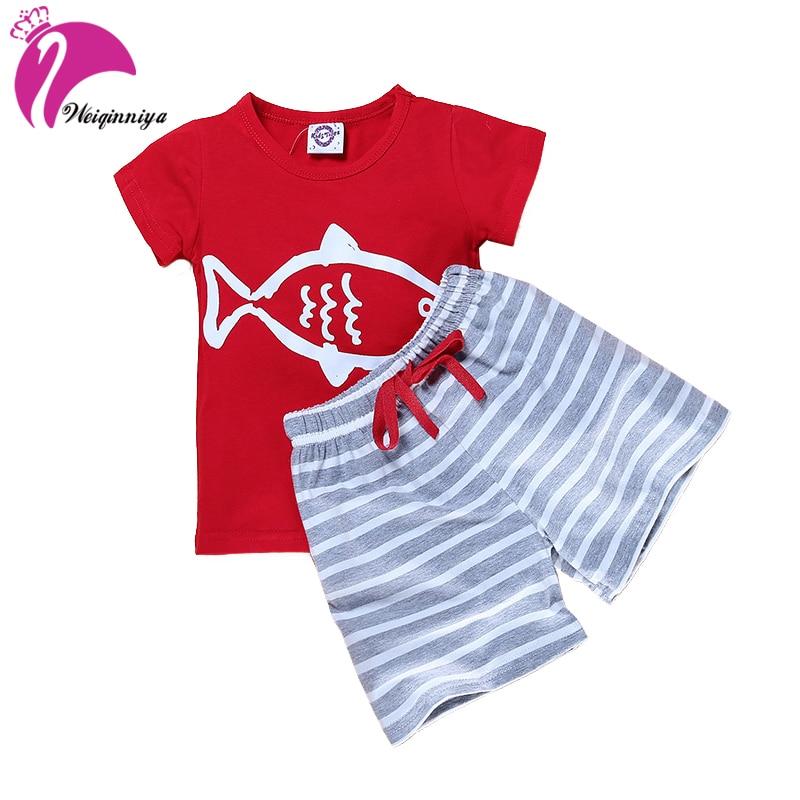 Boys Sets Kids Shorts Suits Cartoon Stripe Pattern Sports Suit For Boys Toddler Boy Tops+Pants 2PCs Set Summer Children Clothing latex two colors tops rubber garment suit for boys