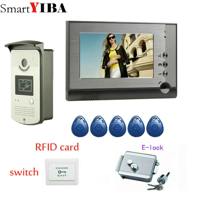 SmartYIBA 7Video Doorbell Interphone Entry System Max Support 1000 User Cards Unlock IR Night Vision Camera Intercom Door Lock original belarus yukon nvmt spartan 4x50 ir night vision monoular max 200m 24127