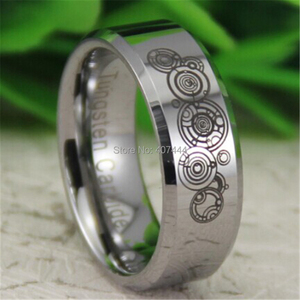 Image 2 - Free Shipping YGK JEWELRY Hot Sales 8MM Silver Beveled Doctor Who Time New Mens Comfort Tungsten Wedding Ring