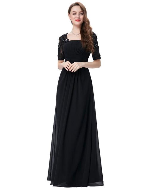 222fc80e503b Half Sleeve Evening Dresses Square Neck Chiffon Prom Gown Formal Party Dress  Women Kaftan Lace Long