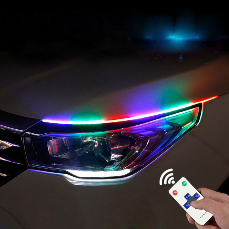 New 45 Cm 60 Cm Angel Eye <font><b>Car</b></font> Headlights Turning Light Streaming External Light <font><b>Guide</b></font> Strip LED Daytime Running Lights image