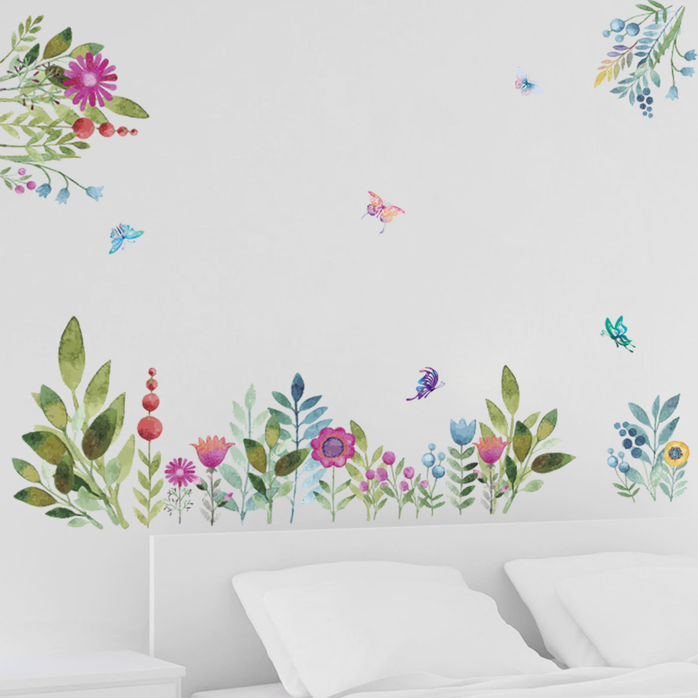 Colorful Garden Flower wall stickers TV Background Sofa Home decor Flying Birds Butterfly wall decal 3d Effect Wedding Decor(China)