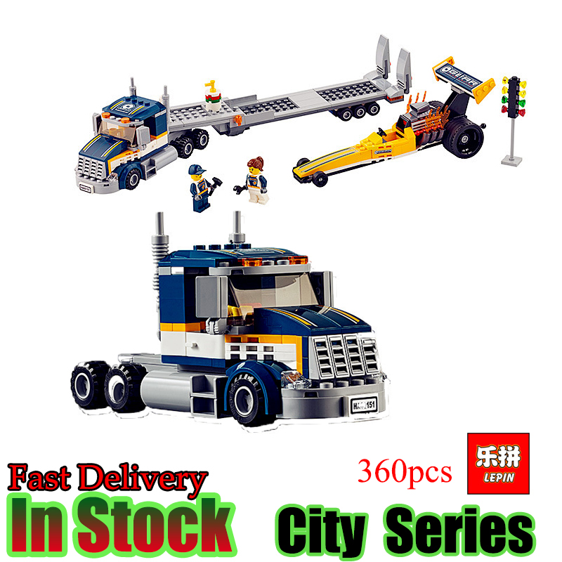 Lepin 02025 360Pcs City Series The High Speed Racer Transporter Set Children Educational Building Blocks Bricks Toys Model 60151 lepin 02025 city the high speed racer transporter 60151 building blocks policeman toys for children compatible with lego