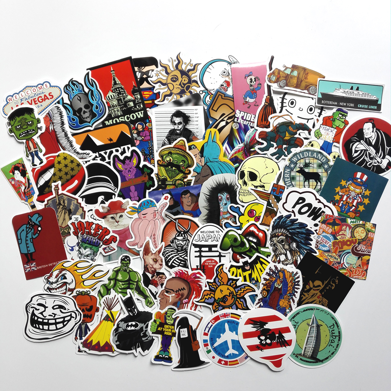 50pcs Random Mixed Stickers For Motorcycle Bike Laptop Skateboard Car Styling Phone Doodle Cool Sticker PVC Waterproof Decal