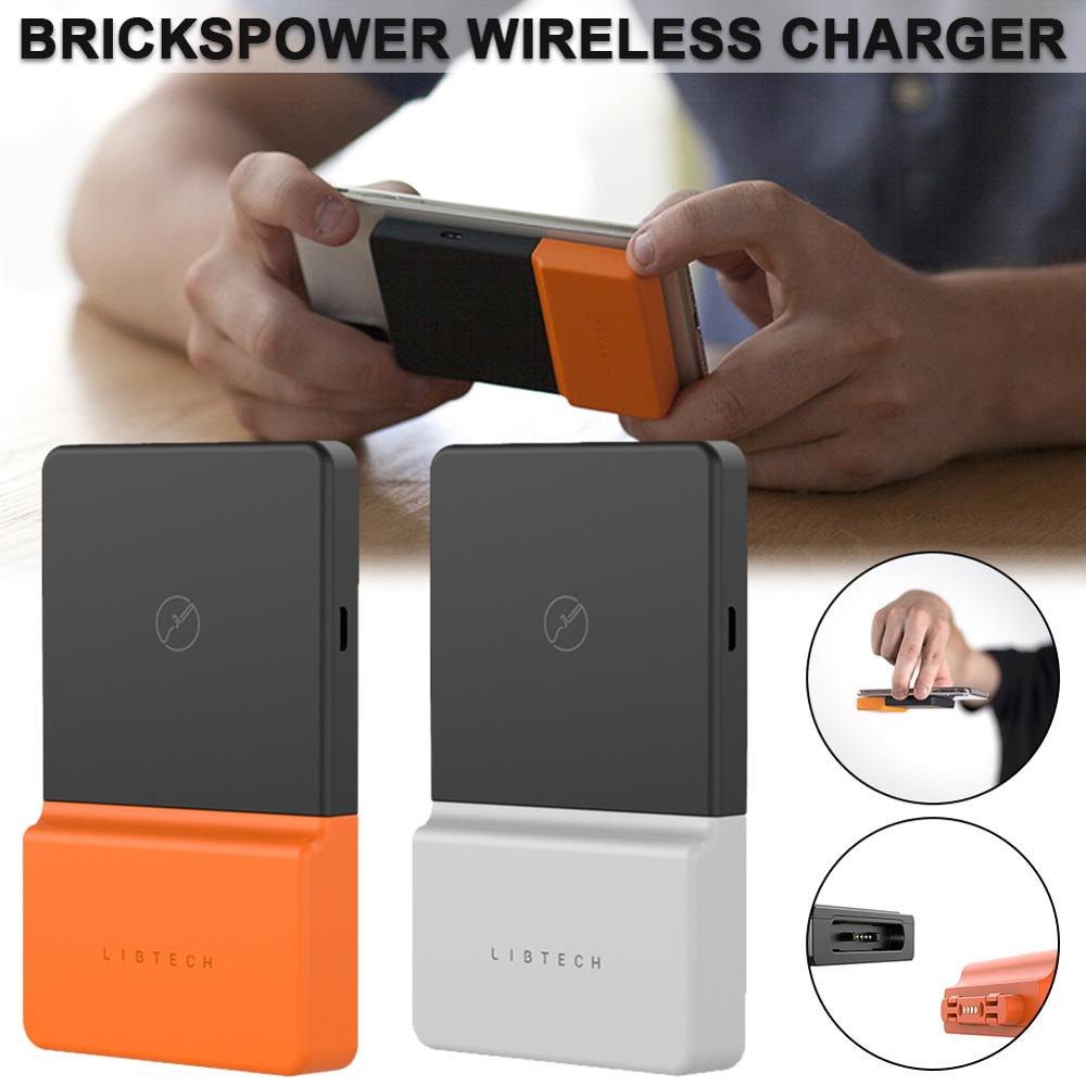 New Adsorptive Wireless Charger Power Bank External Battery Charger Wireless For UMIDIGI/Xiaomi/Iphone BricksPower Paste Charger